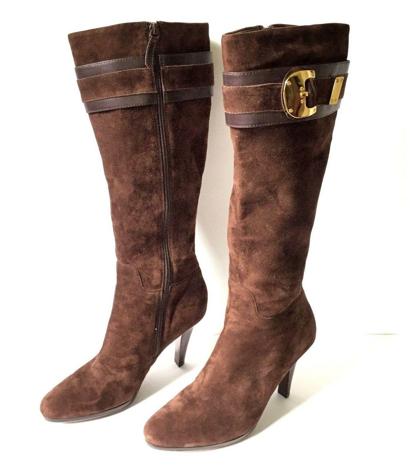 Cole Haan Leather Suede Zipper Boots - Women's Size 9 Medium - Dark Brown