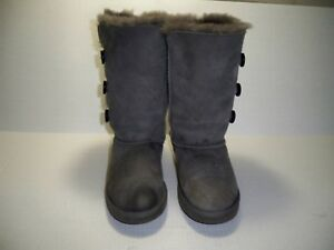 f73e67e38a3 Details about Ugg Women's Tall Sheepskin 3 Button Bailey Boots Grey Size 3  M US Eur 33 S/N1962