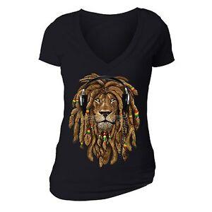 837832834b9 Rasta Lion of Judah T-shirt Headphones Jamaican Rastafari Zion Bob ...