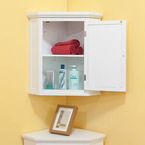 Image Is Loading Corner Wall Cabinet Bathroom Hanging White Cupboard Door