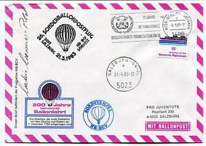 1983 Sonder Ballonpost N. 26 Pro Juventute Aerostato Hb-bcv Schweiz Salzburg Non Repassant