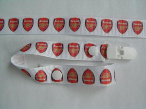 Girls Gorgeous Dummy Strap Pacifier Dummy Clip A Arsenal Boys new