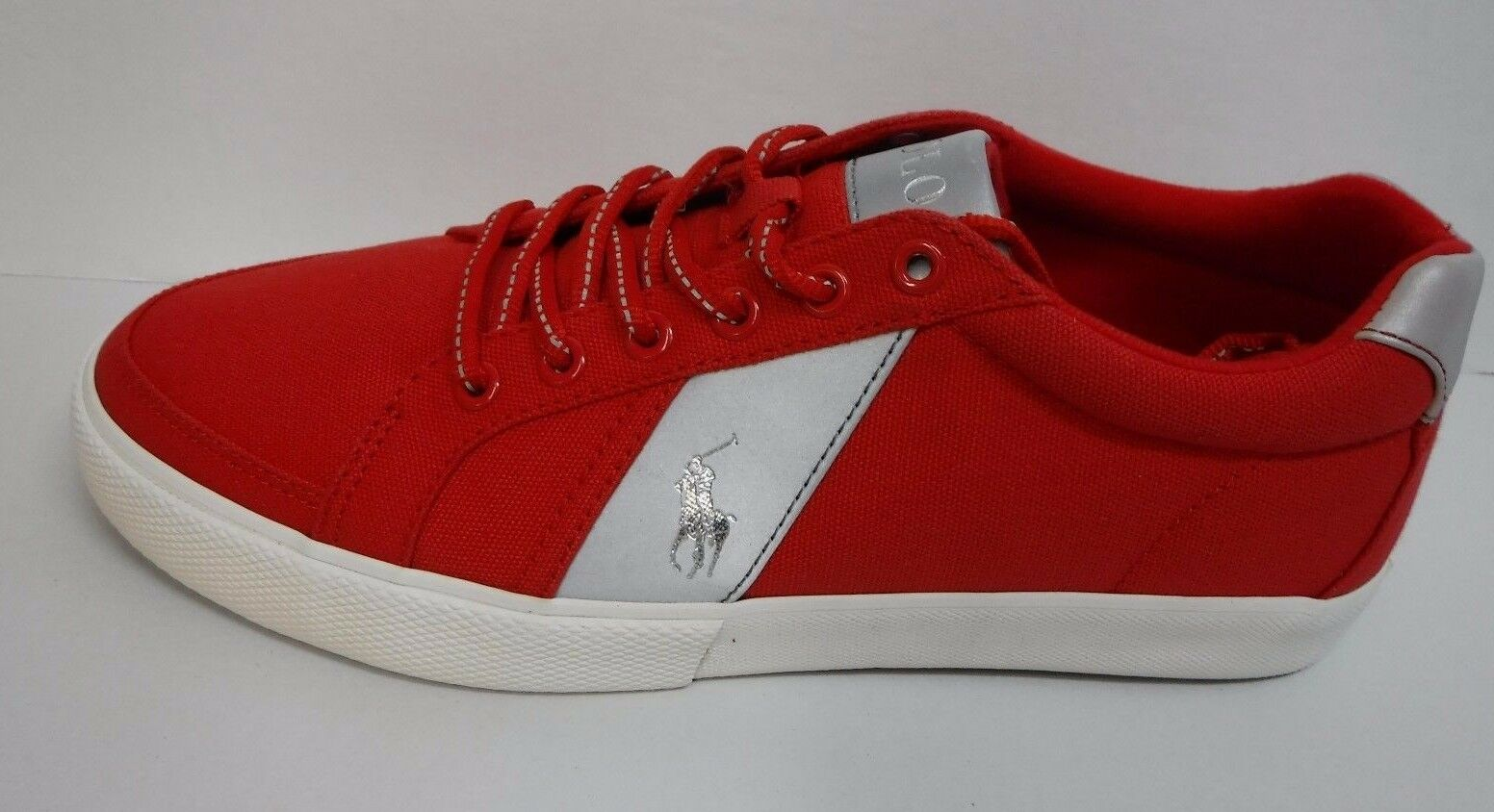 Polo Ralph Lauren Size 14 Red Silver Canvas Sneakers New Mens Shoes