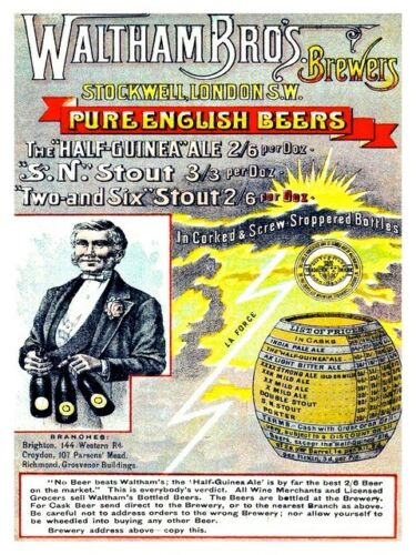 Wall art. old Beer advertising Waltham Brothers Reproduction poster