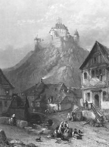 Germany-BRAUBACH-RHEIN-RHINE-CASTLE-MARKSBURG-FORTRESS-1865-Art-Print-Engraving
