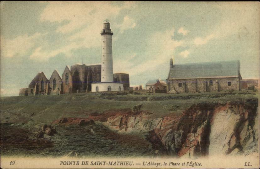 Pointe de Saint-Mathieu France Abby & Lighthouse c1910 Postcard