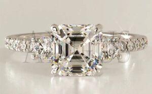 Solid-14K-White-gold-2-66-ct-Asscher-cut-Anniversary-Diamond-Engagement-Ring
