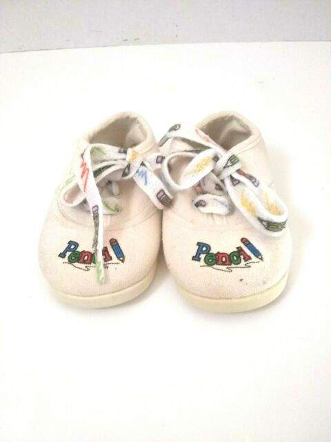 Vintage Infant Size 1 White Baby Tennis Shoes Made In USA