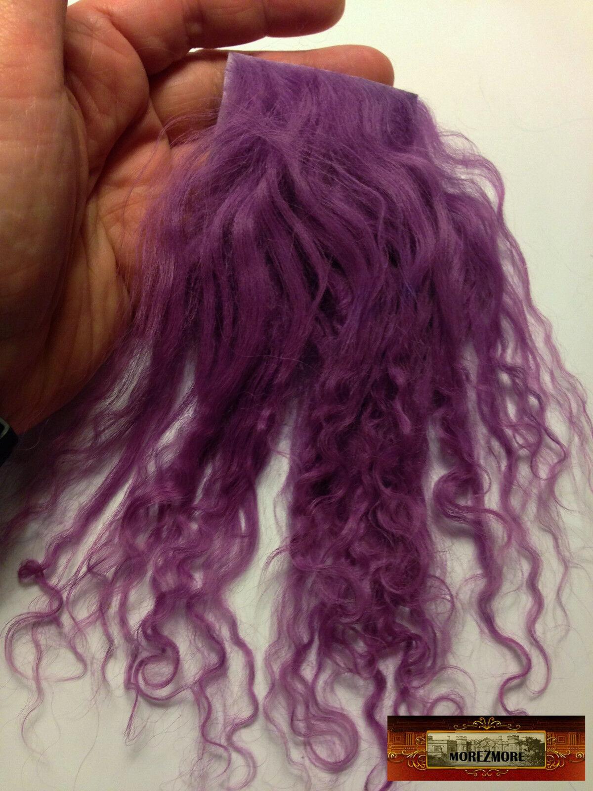 M01179 MOREZMORE Tibetan Lamb Fur Mini Sample 2x2 RAVEN BLACK Doll Hair A60