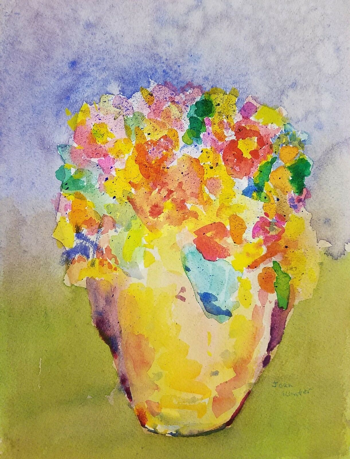 "Free Shipping Floral Flowers Original Art Watercolor painting by J Winter 9x12"" 1"