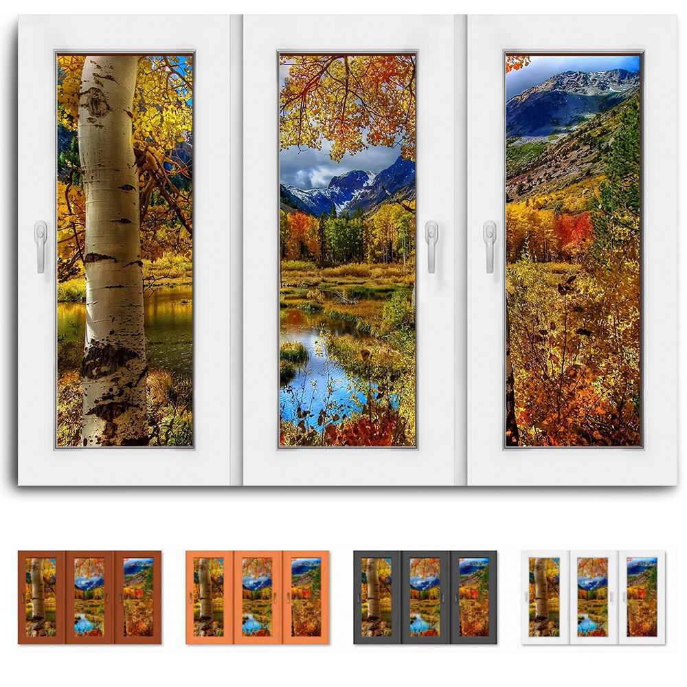 Fensterblick Birke See Bild auf Leinwand Bilder mit Keilrahmen Kunstdruck N017