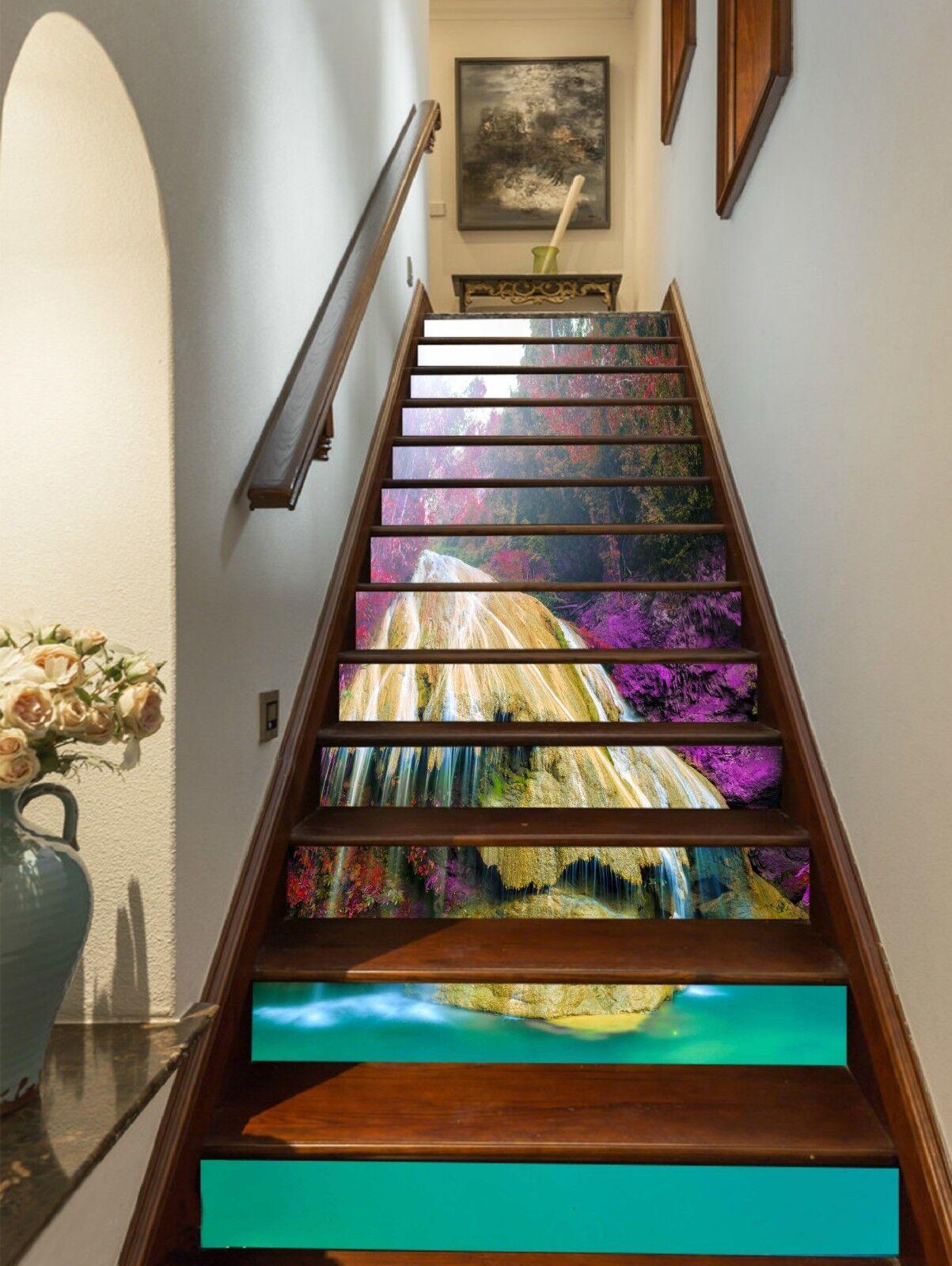 3D Bule Stream Stair Risers Decoration Photo Mural Vinyl Decal Wallpaper UK