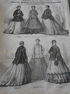 à Condition De Gravure 1867 Modes Confection D'hiver Robe Polonaise Avec Jupon Chachemire Prix De Vente
