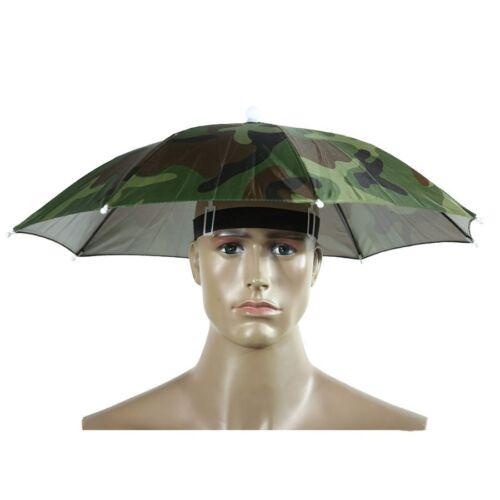 Camouflage Umbrella Hat 55cm Fishing Rain Foldable Headwear Fishing Hiking Cap