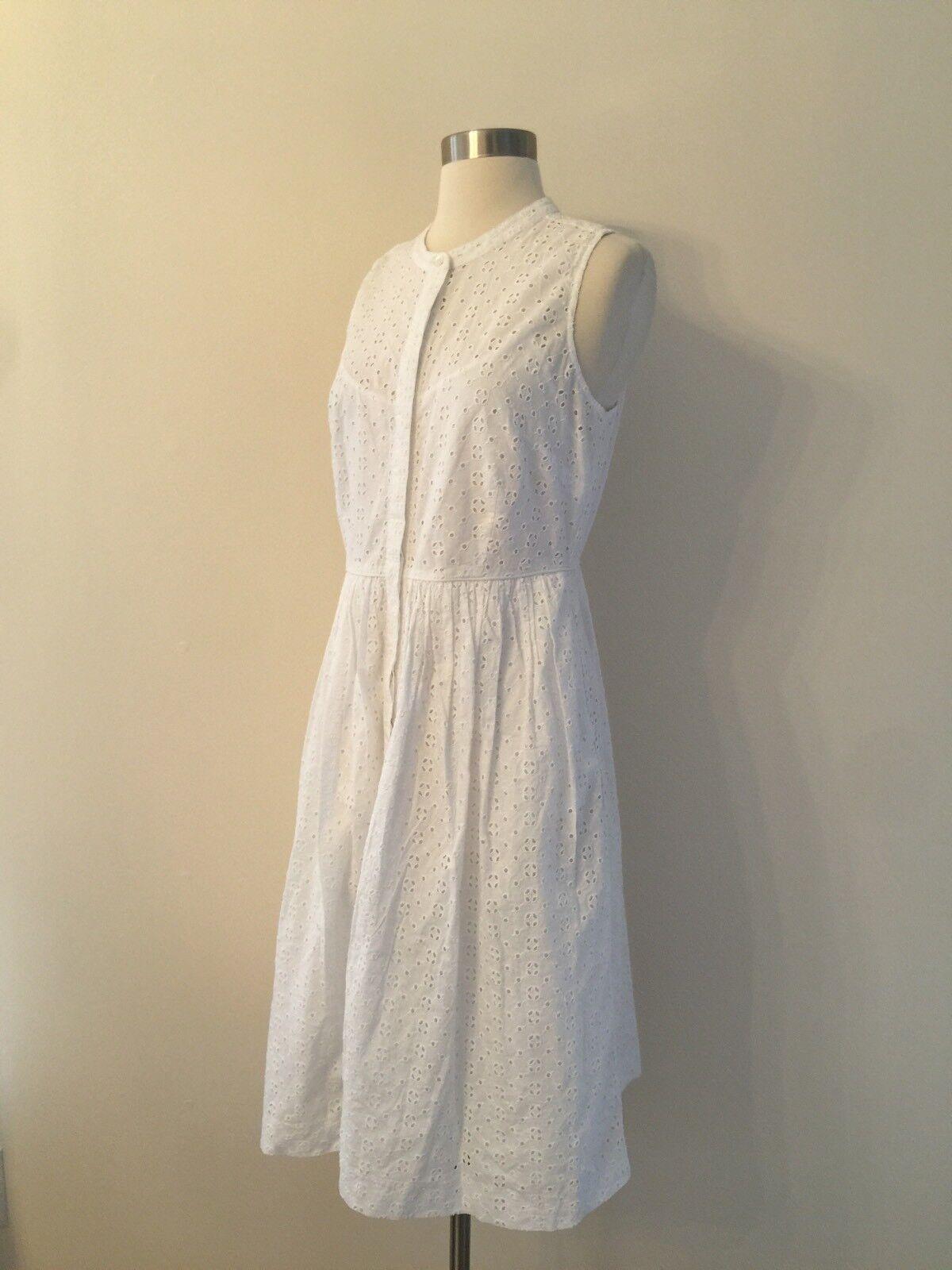 New J.Crew Eyelet Shirtdress Dress in Weiß Größe 6 G4807 SUMMER 2017