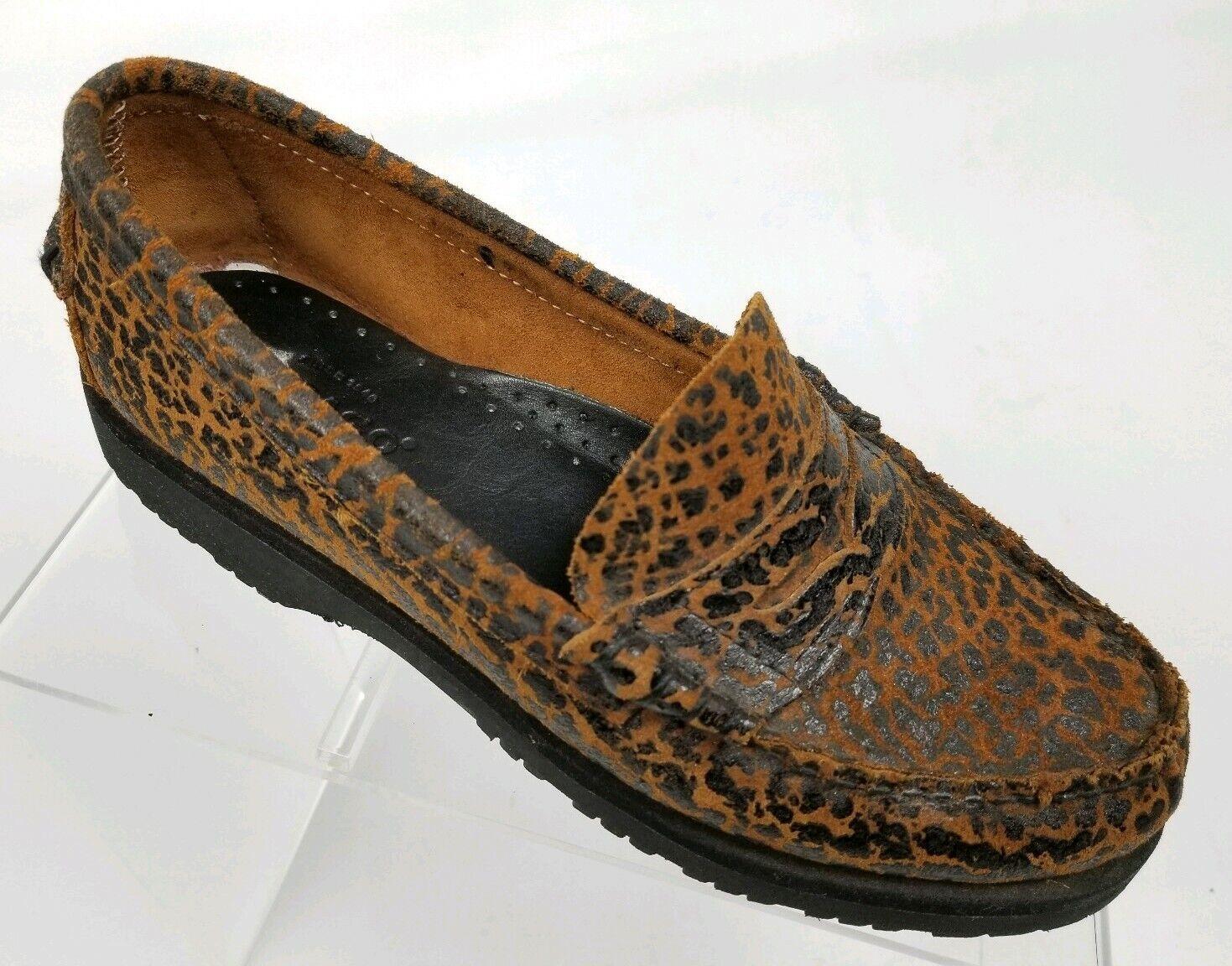 SEBAGO Women's Classic Penny Loafers Animal Print Black Tan Leather Size 6
