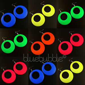 FUNKY-LARGE-ROUND-HOOP-DROP-EARRINGS-KITSCH-DISCO-RAVE-60s-70s-80s-90s-STYLE-FUN