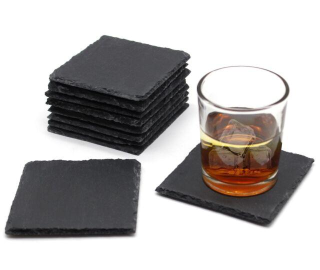 4pcs Set of Natural Slate Square Coffee Table Mug Drinks Cup Mat Coaster 10x10cm