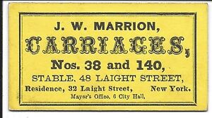 c1860 Business Card J.W. Marrion, Carriages, Laight Street, N.Y. (Yellow Card)