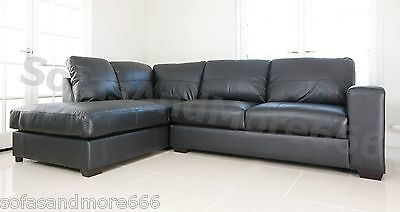 BRAND NEW - WESTPOINT - CORNER SOFA - FAUX LEATHER - BLACK - LEFT HAND SIDE