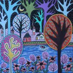 Blue-Waters-12-x-12-x-3-4-ORIG-CANVAS-PAINTING-Folk-Art-Prim-BOAT-Karla-Gerard