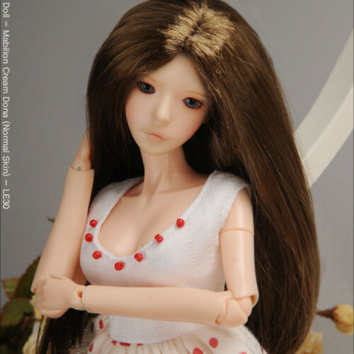 """DOLLMORE 12/"""" Fashion doll wig Size Brown /"""" Parting Straight Wig 3-4"""
