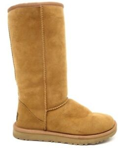UGG-Australia-Womens-5815-Classic-Tall-Shearling-Chestnut-Suede-Fur-Boots-Size-5