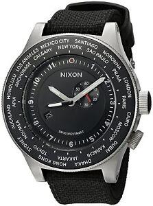 Authentic-Nixon-Passport-Swiss-GMT-World-Time-49-MM-Black-Strap-Watch-A321000-00