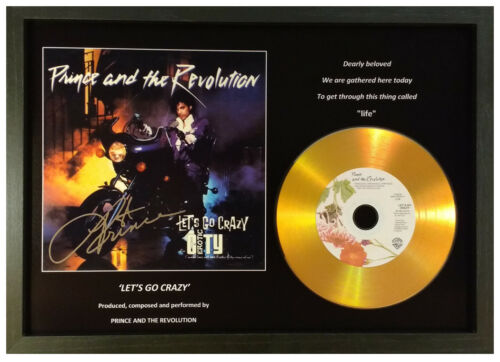 PRINCE /'LET/'S GO CRAZY/' SIGNED PHOTO GOLD CD DISC COLLECTABLE MEMORABILIA GIFT.