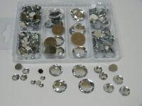 ca. 230 Acryl Diamanten 6-18mm 6fach sort. klar-silber