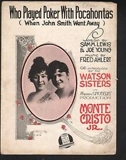 Who Played Poker With Pocahontas When John Smith Went Away 1919 Sheet Music