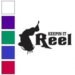 Size #419 Keeping It Reel Catfish Decal Sticker Choose Color