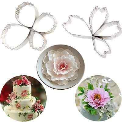 4pcs Heart Peony Flower Fondant Sugarcraft Cake Cookie Cutter Decorating Mold