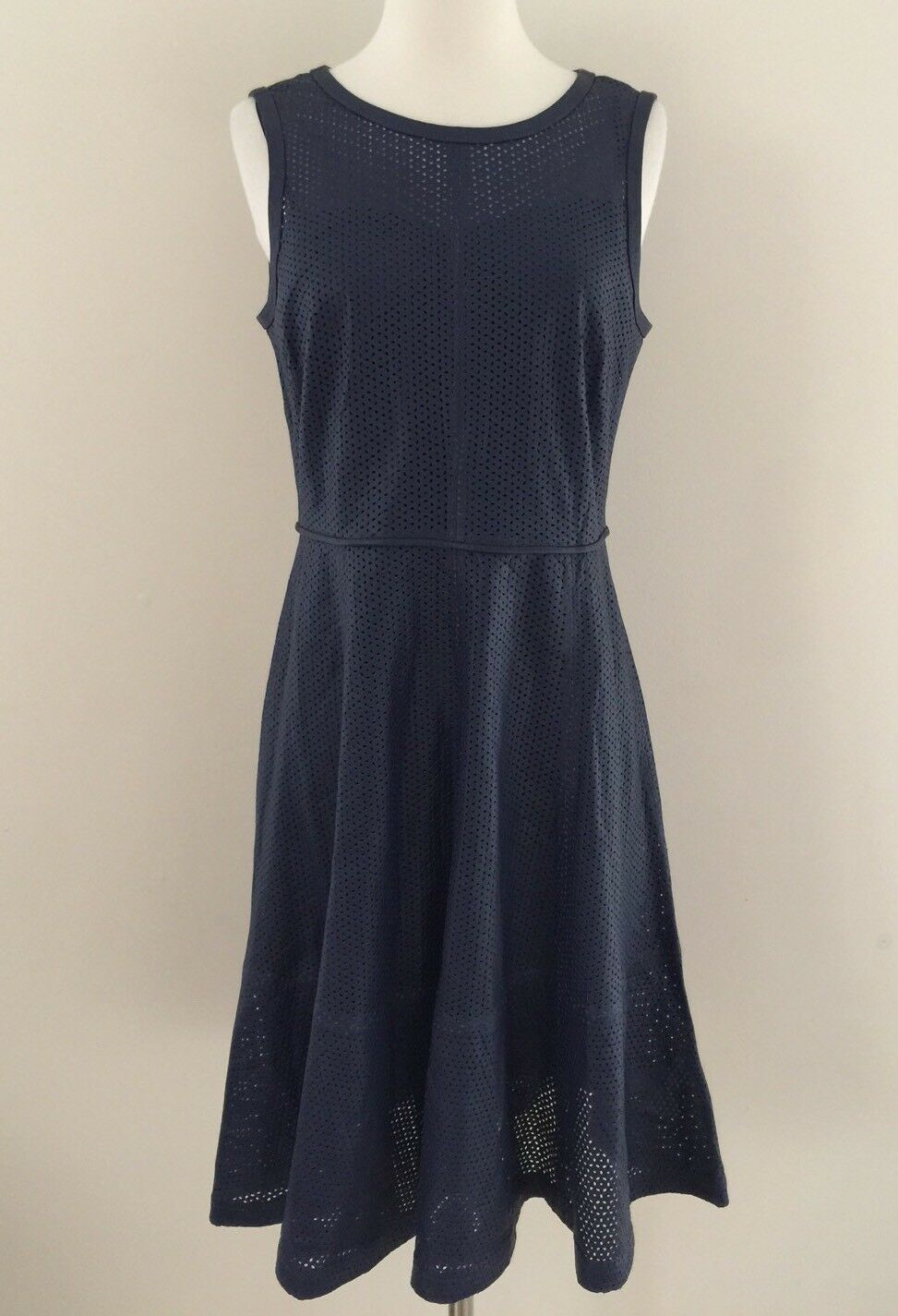 NEW JCREW COLLECTION PERFORATED GENUINE LEATHER DRESS NAVY F0251 Size 8 RARE