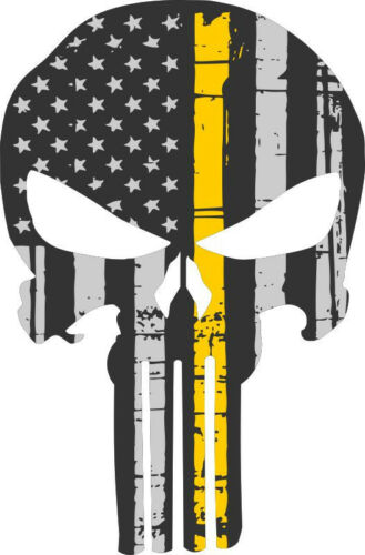 Punisher Skull Decal Yellow Flag Skull Window decal 3 Sizes Free Shipping