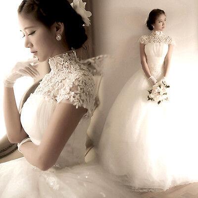 Lace Up White Lace Flowers Wedding Dress Bridal Gown Princess Sequins C127