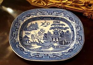 Blue Willow Serving Platter Dish Transferware Tray Staffordshire Pottery Plate