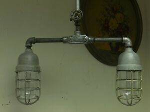 VINTAGE-INDUSTRIAL-Barn-Light-two-arm-Pendant-explosion-proof-cages-Steampunk