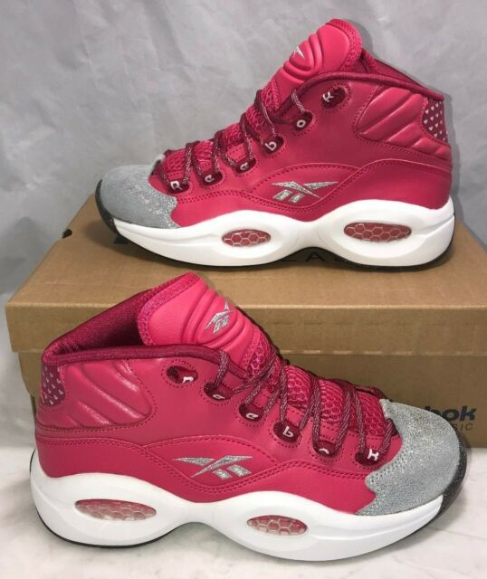 612dd0d6b148 Reebok Grade School Size 6.5y Question Mid Pink Cherry Basketball Athletic  Shoes