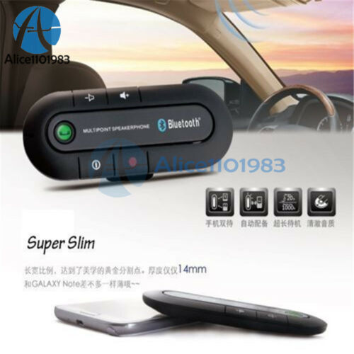 Wireless Bluetooth Hands Free Multipoint Car Speakerphone Speaker Visor Clip Kit