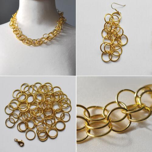 Armband und Ohrringe 16 Ø Goldene Spaltringe Binderinge Schmuckringe für Ketten
