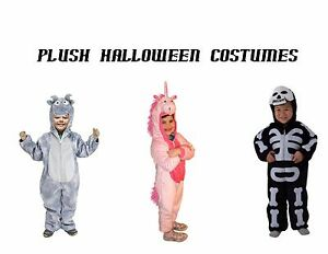 Plush Kids Halloween Costumes Sizes S Pink Unicorn L Skeleton Gray Dragon