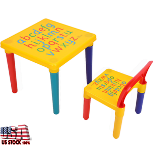 Image is loading Kids-Baby-Table-Chair-Set-Children-Play-Letter-  sc 1 st  eBay & Kids Baby Table Chair Set Children Play Letter Education Learning ...