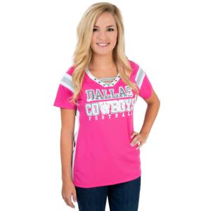 65a72e784eb Dallas Cowboys Women's Pink Tammy V-Neck Lace up Jersey T-Shirt | eBay