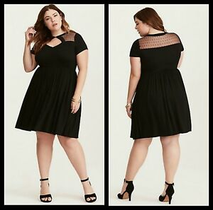 NWT Torrid Plus Size 1 1X XL Black Dot Mesh Inset Skater Dress (#37 ...
