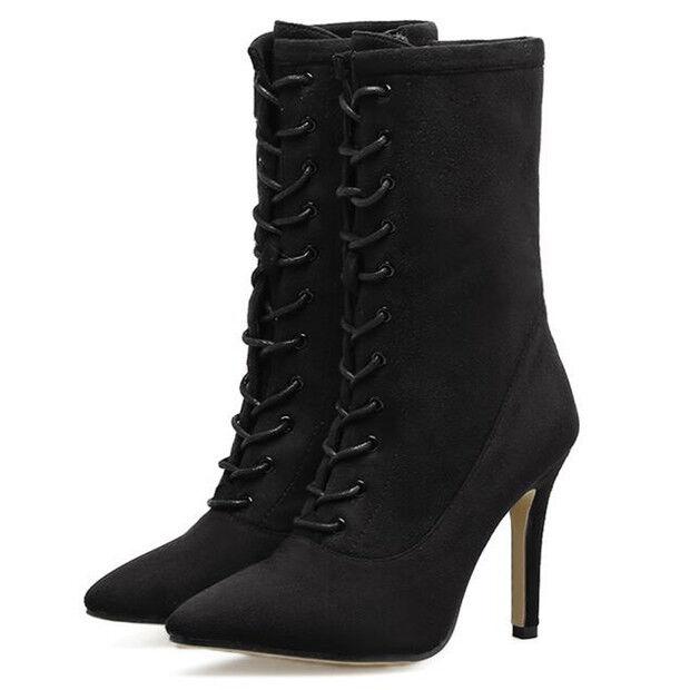 Stiefel Niedrig Schuhe Stilett 10 cm Schwarz Leder Kunststoff 9450