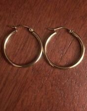 14K YELLOW GOLD POLISHED ROUND PLAIN HOOPS HOLLOW HOOP EARRINGS  2 mm  1 INCH