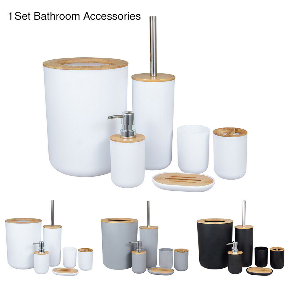 Living room bamboo and wood bathroom accessories set soap dispenser toilet brush
