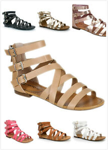 Brand New Women's Fashion Three Buckle Strappy Gladiator Flat Sandals Shoes