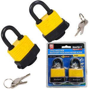 2 Padlocks with Same Key weather resistant Padlocks matching keys Shed Gate Lock